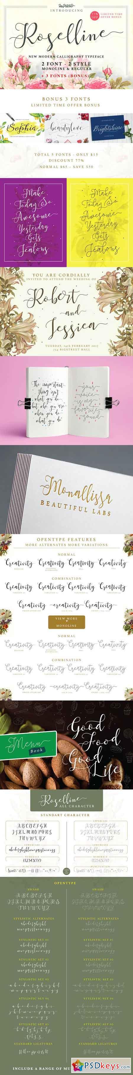 Roselline Typeface - 2 Style + BONUS