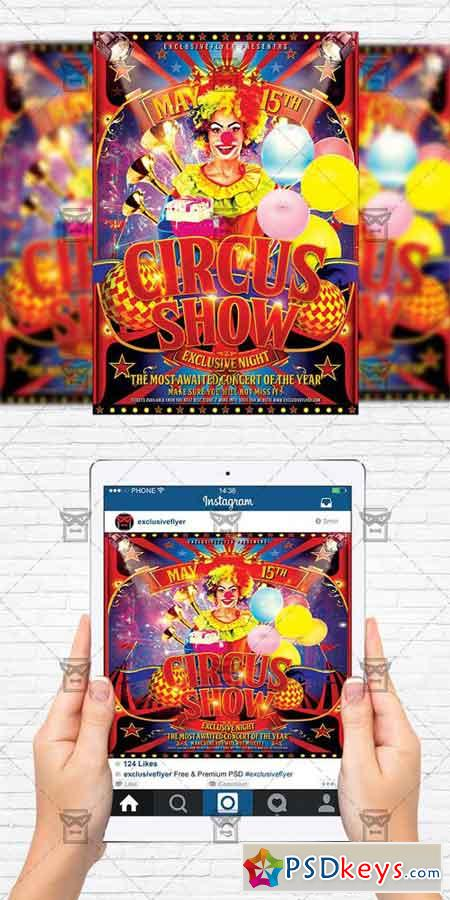 Circus Show - Flyer Template + Instagram Size Flyer