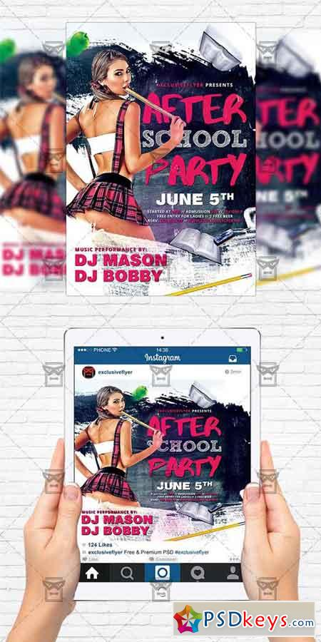 After School Party - Flyer Template + Instagram Size Flyer » Free ...