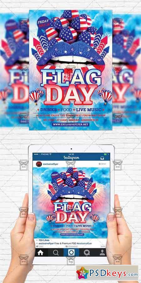 Flag Day - Flyer Template + Instagram Size Flyer