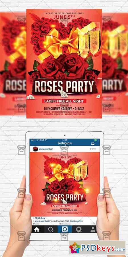 Roses Party - Flyer Template + Instagram Size Flyer