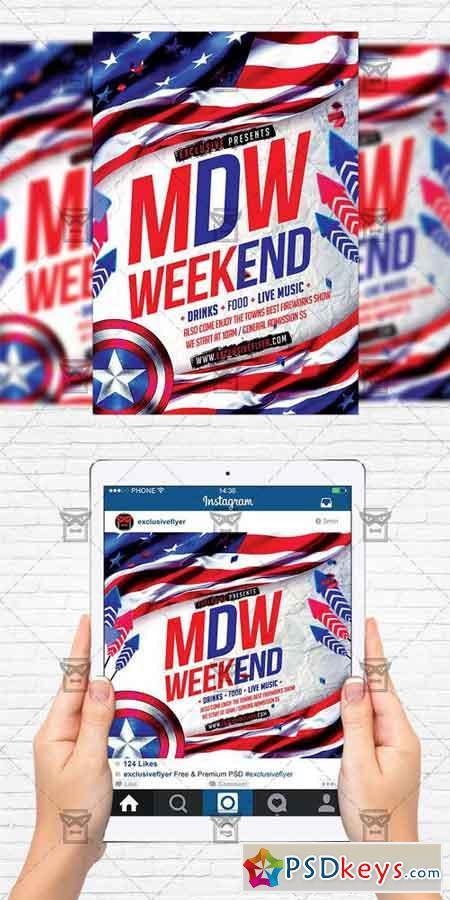 Memorial Day Weekend - Flyer Template + Instagram Size Flyer