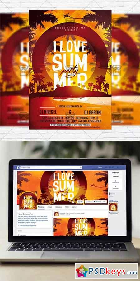 I Love Summer Party - Flyer Template + Instagram Size Flyer » Free ...