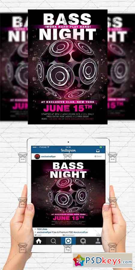 bass night flyer template instagram size flyer free download photoshop vector stock image. Black Bedroom Furniture Sets. Home Design Ideas