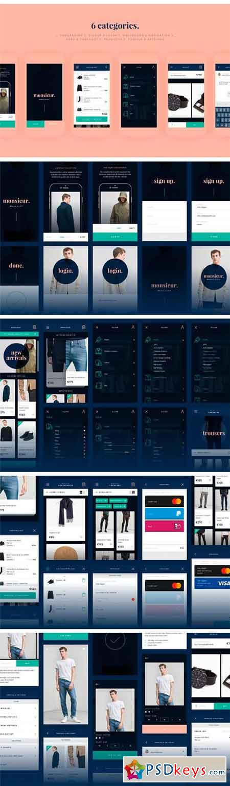 Monsieur. Mobile E-commerce UI Kit 1299969