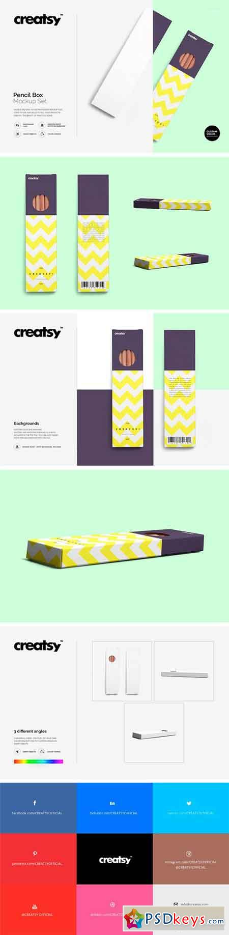 Pencil Box Mockup Set 1299939