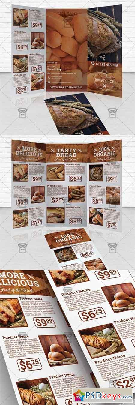 Bakery food trifold brochure template free download for Bakery brochure template free