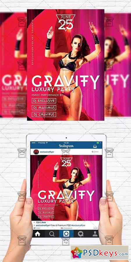 Gravity Luxury Party - Flyer Template + Instagram Size Flyer