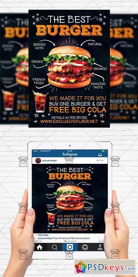 burger restaurant flyer template instagram size flyer free download photoshop vector stock. Black Bedroom Furniture Sets. Home Design Ideas