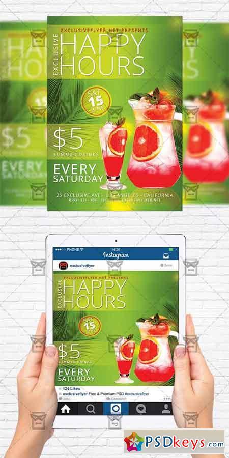 Exclusive Happy Hours - Flyer Template + Instagram Size Flyer