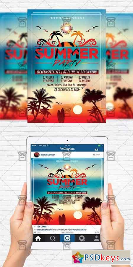 summer sunset party flyer template instagram size flyer free download photoshop vector. Black Bedroom Furniture Sets. Home Design Ideas