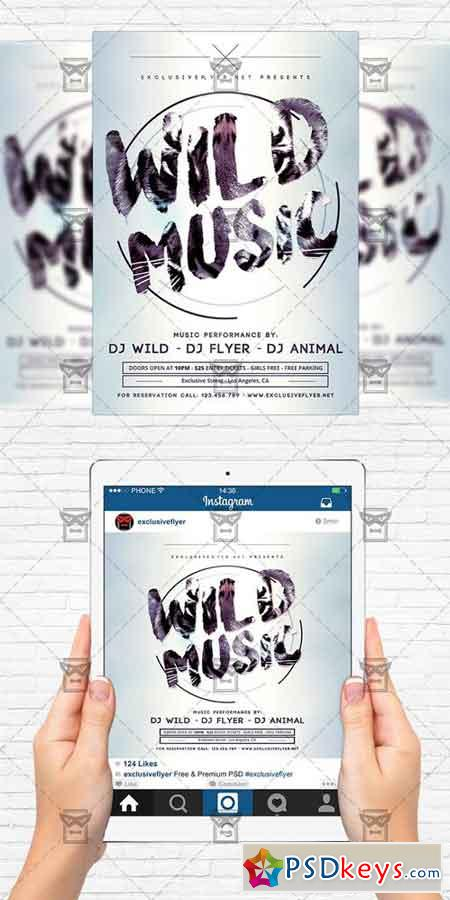 wild music flyer template instagram size flyer free download photoshop vector stock image. Black Bedroom Furniture Sets. Home Design Ideas