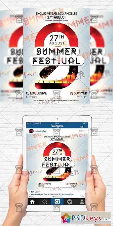 summer festival flyer template instagram size flyer free download photoshop vector stock. Black Bedroom Furniture Sets. Home Design Ideas