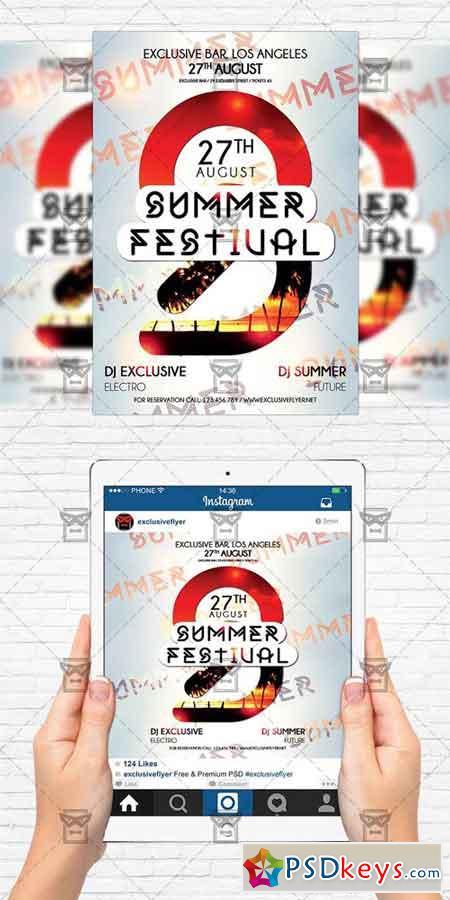 Summer Festival - Flyer Template + Instagram Size Flyer
