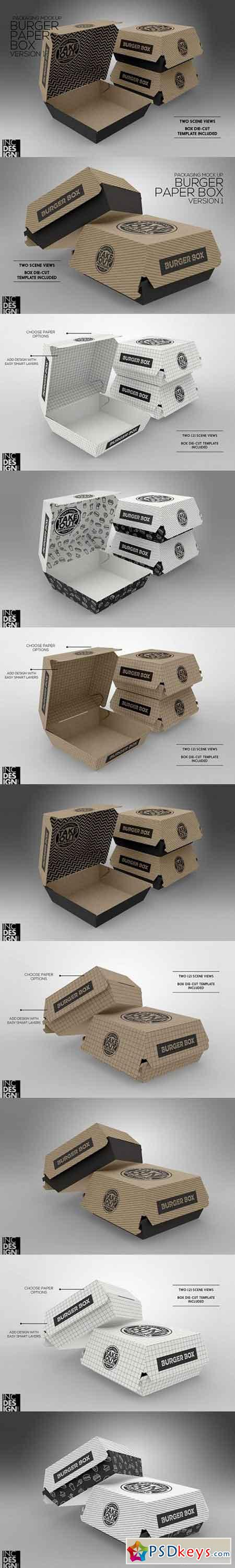 Burger Box Packaging MockUp v.1 1319395