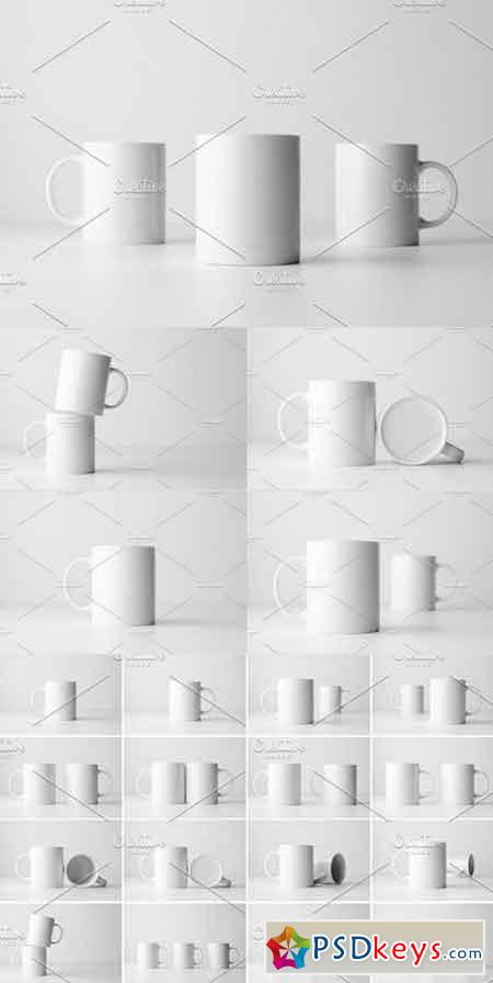 White Mug Mock-Up Stock Photo Bundle 1322209