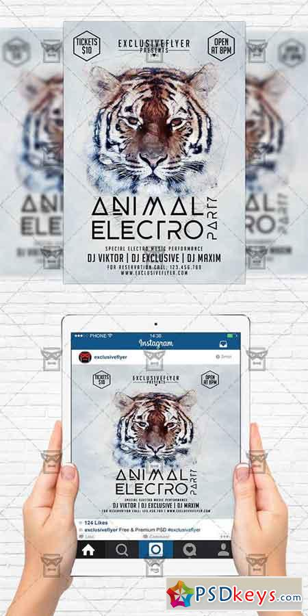 animal electro party flyer template instagram size flyer free download photoshop vector. Black Bedroom Furniture Sets. Home Design Ideas