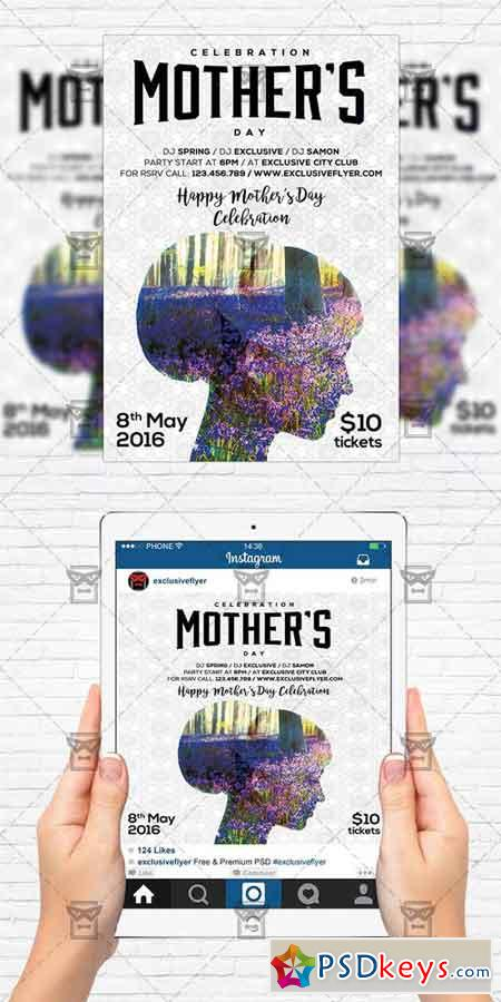 mother day celebration flyer template instagram size flyer free download photoshop vector. Black Bedroom Furniture Sets. Home Design Ideas