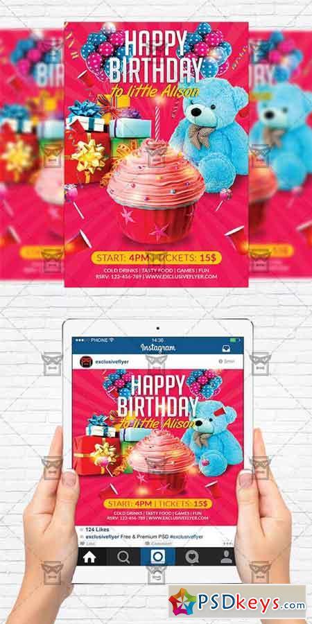 Kids Birthday Party - Flyer Template + Instagram Size Flyer