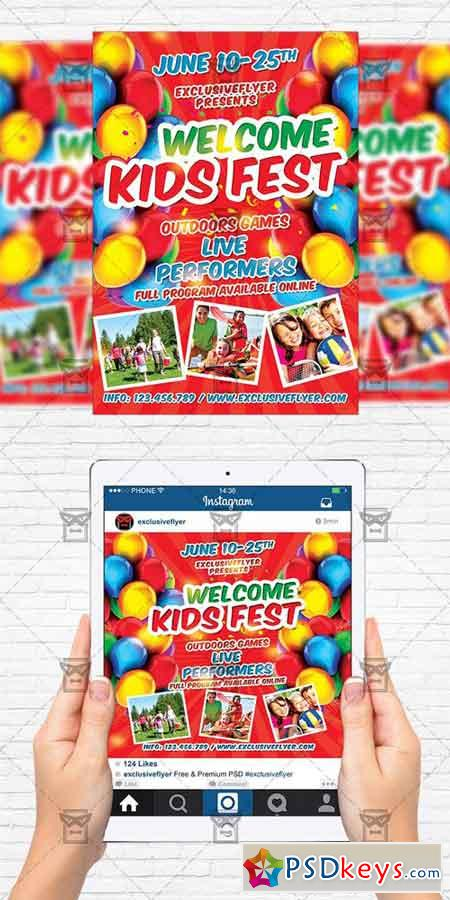 kids fest flyer template instagram size flyer free download photoshop vector stock image. Black Bedroom Furniture Sets. Home Design Ideas