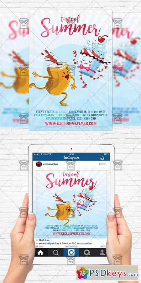 taste of summer flyer template instagram size flyer free download photoshop vector stock. Black Bedroom Furniture Sets. Home Design Ideas