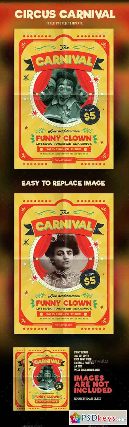 Retro Circus Carnival Flyer 15075900