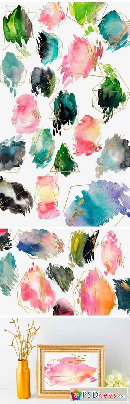 SPRING 63 PNG! WATERCOLOR BLOBS+GOLD 1293712
