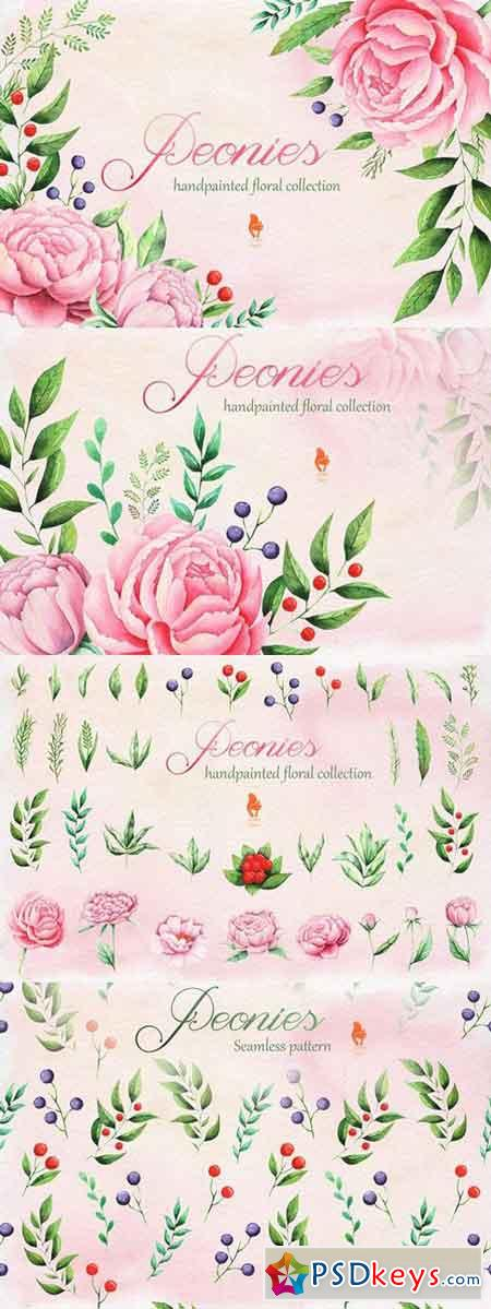 Peonies, Watercolor collection 1328523