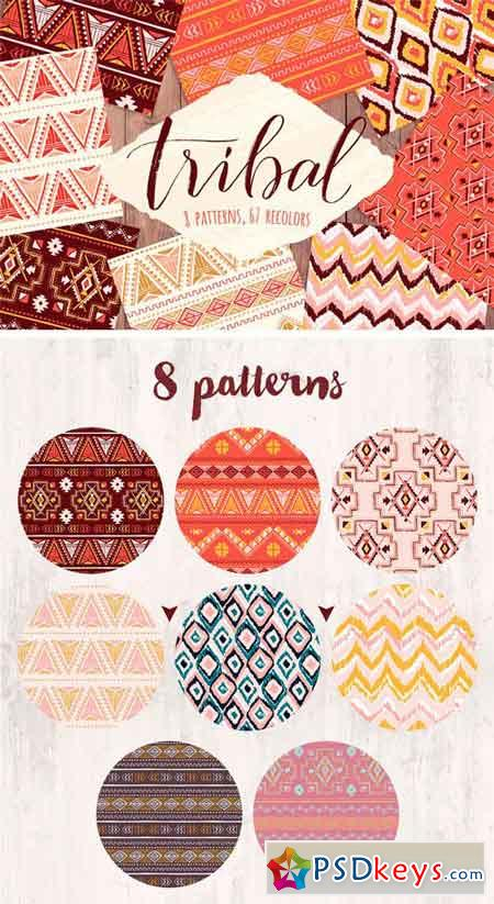 Vector Tribal Seamless Pattern Set 1318848