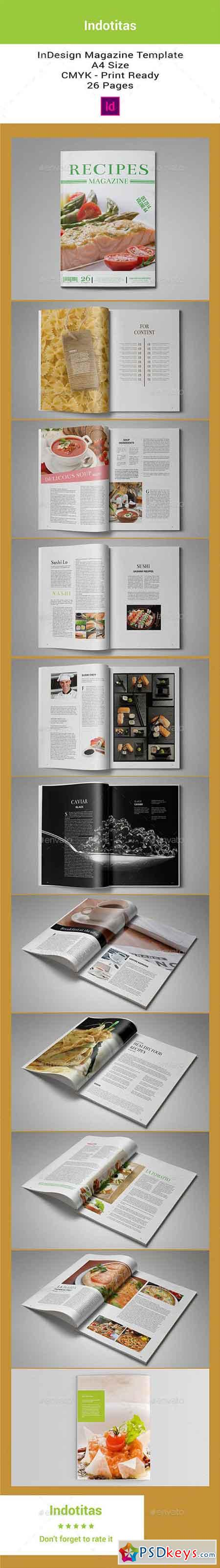 Food Recipes Magazine Template 8818337
