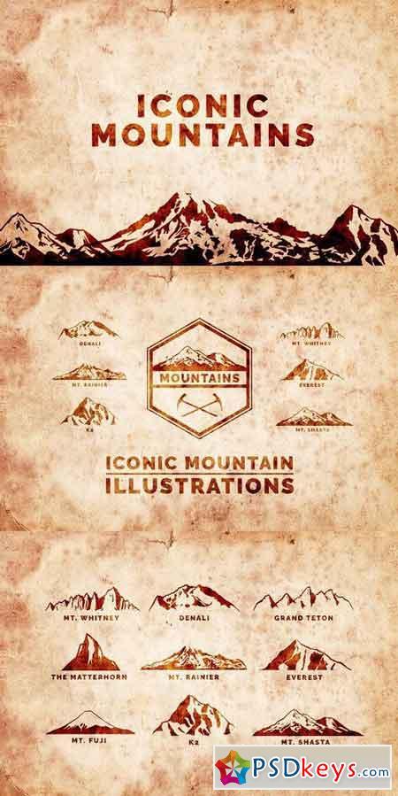 Iconic Mountain Vectors 1016198
