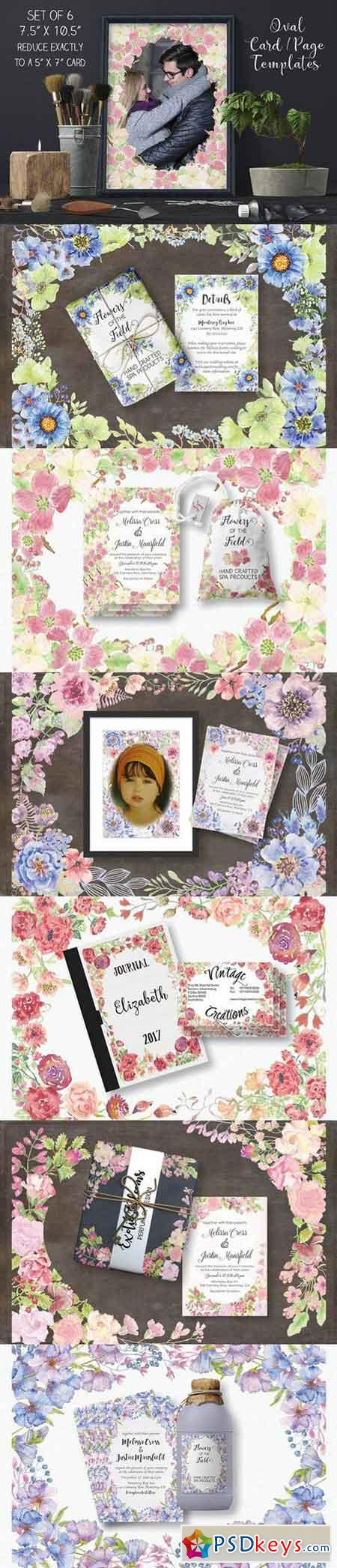 Set of 6 oval card templates 134338