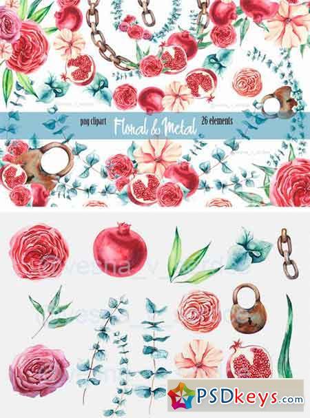 Burgundy Flower & Metal Clipart 1340653