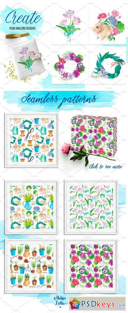 Secret Garden Big Watercolor Bundle 1341473