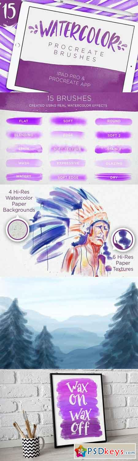 15 Watercolor Procreate Brushes 1192547 » Free Download Photoshop