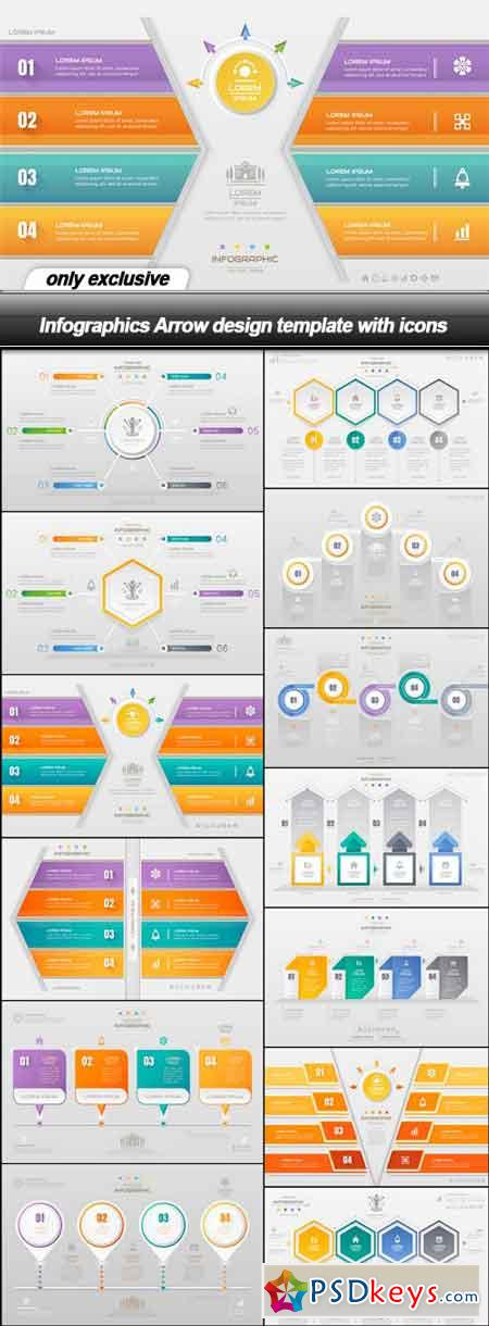 Infographics Arrow design template with icons - 13 EPS