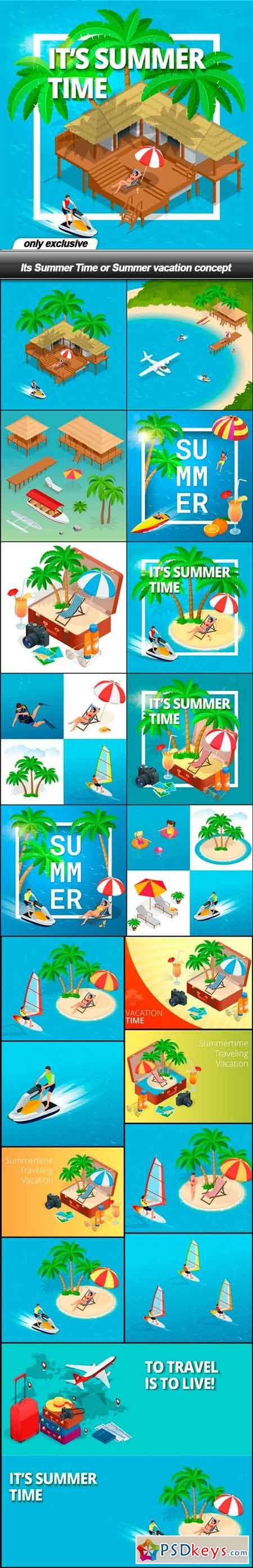 Its Summer Time or Summer vacation concept - 20 EPS