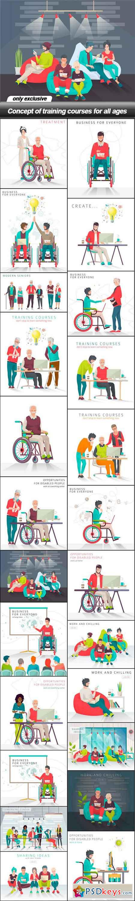 Concept of training courses for all ages - 24 EPS