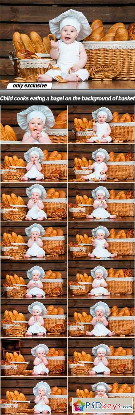 Child cooks eating a bagel on the background of basket - 16 UHQ JPEG