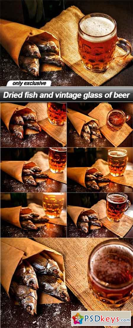 Dried fish and vintage glass of beer - 8 UHQ JPEG