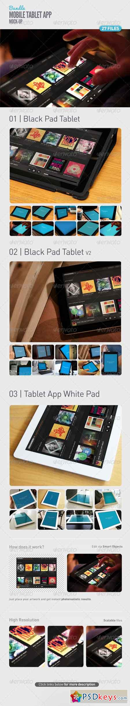 Pad Tablet App UI Mock-Up Bundle 5107074