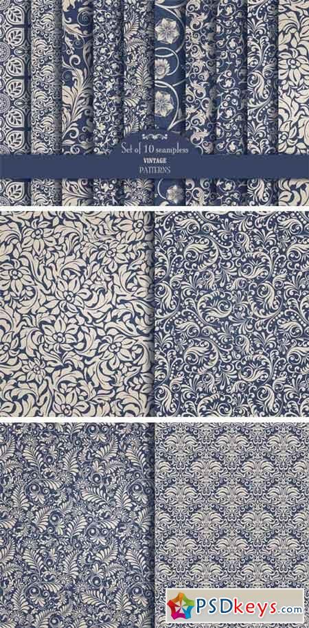 Set of 10 Seamless Pattern Baroque 1340444
