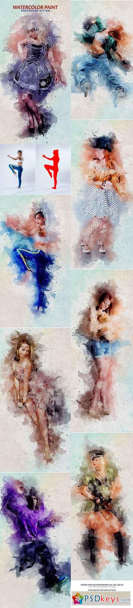 Watercolor Paint Photoshop Action 17947441