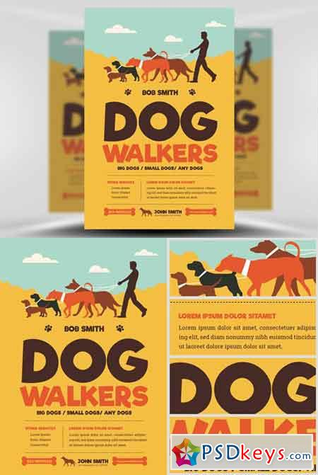 Dog free download photoshop vector stock image via torrent dog walkers flyer template pronofoot35fo Choice Image