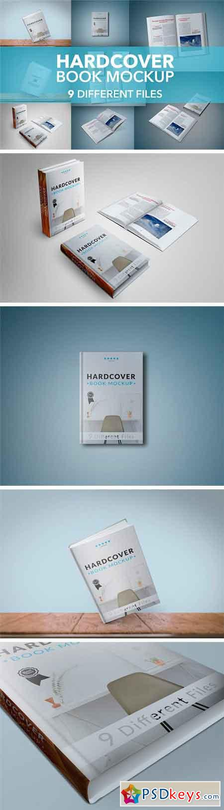 9 Hardcover Book Mockup Bundle 1361463