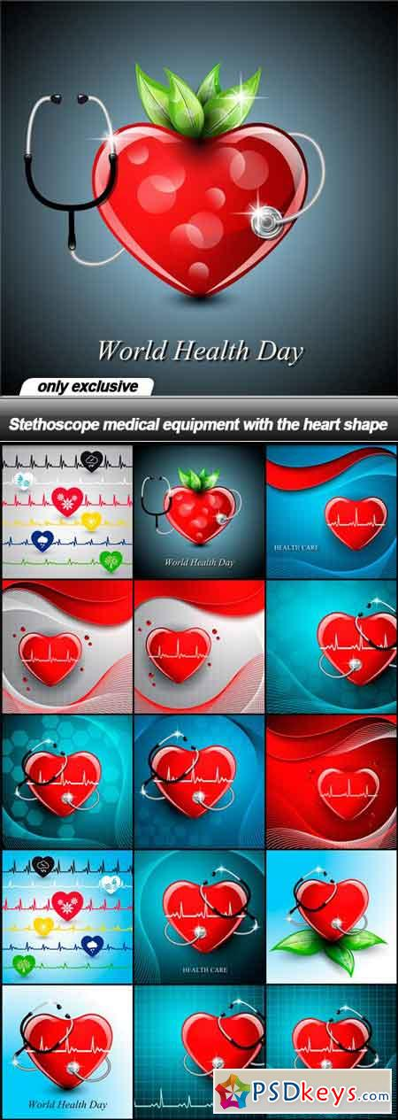 Stethoscope medical equipment with the heart shape - 15 EPS