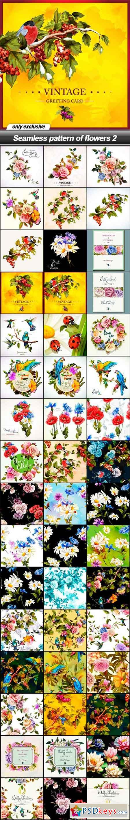 Seamless pattern of flowers 2 - 47 EPS