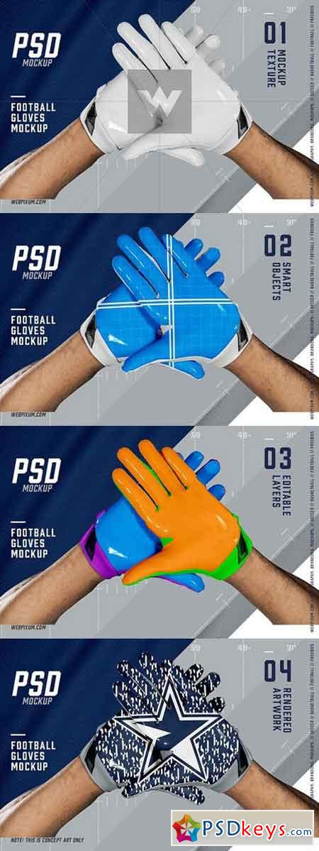 Football Gloves Mockup Template 1367712