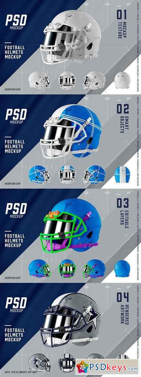 Football Helmets Mockup Template [5] 1367724