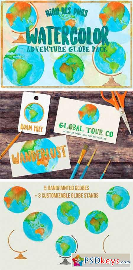Watercolor Globe Illustrations 1341230